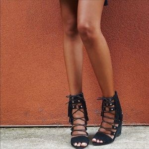 Free People Wedge Solstice Fringe Suede Sandals